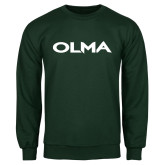 Dark Green Fleece Crew-Athletic Wordmark