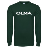 Dark Green Long Sleeve T Shirt-Athletic Wordmark