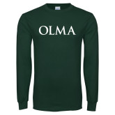 Dark Green Long Sleeve T Shirt-OLMA Wordmark