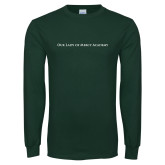 Dark Green Long Sleeve T Shirt-Wordmark