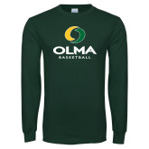 Dark Green Long Sleeve T Shirt-Stacked Basketball