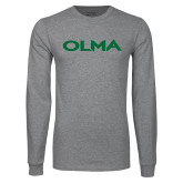 Grey Long Sleeve T Shirt-Athletic Wordmark