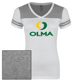 Ladies White/Heathered Grey Juniors Varsity V Neck Tee-Primary  Athletic Mark