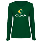 Ladies Dark Green Long Sleeve V Neck Tee-Primary  Athletic Mark