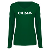 Ladies Dark Green Long Sleeve V Neck Tee-Athletic Wordmark