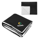Super Soft Luxurious Black Sherpa Throw Blanket-Primary  Athletic Mark