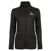 Black Heather Ladies Fleece Jacket-Primary  Athletic Mark