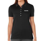Ladies Callaway Opti Vent Black Polo-Athletic Wordmark