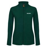 Ladies Fleece Full Zip Dark Green Jacket-Athletic Wordmark