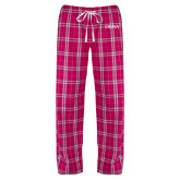 Ladies Dark Fuchsia/White Flannel Pajama Pant-OLMA Wordmark