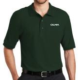 Dark Green Easycare Pique Polo-Athletic Wordmark