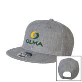 Heather Grey Wool Blend Flat Bill Snapback Hat-Primary  Athletic Mark