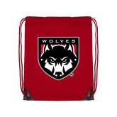 Red Drawstring Backpack-Wolves Shield