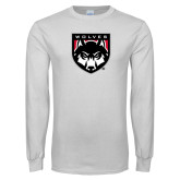 White Long Sleeve T Shirt-Wolves Shield
