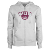 ENZA Ladies White Fleece Full Zip Hoodie-WOU w/ Wolf Pink Glitter