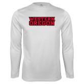 Performance White Longsleeve Shirt-Word Mark Flat