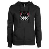 ENZA Ladies Black Fleece Full Zip Hoodie-Wolves Shield