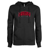 ENZA Ladies Black Fleece Full Zip Hoodie-Word Mark Arched