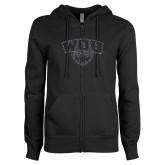 ENZA Ladies Black Fleece Full Zip Hoodie-WOU w/ Wolf Graphite Soft Glitter