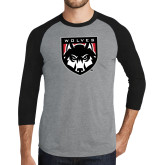 Grey/Black Tri Blend Baseball Raglan-Wolves Shield