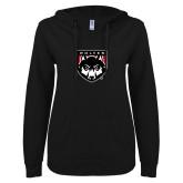 ENZA Ladies Black V Notch Raw Edge Fleece Hoodie-Wolves Shield