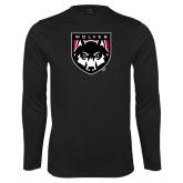 Performance Black Longsleeve Shirt-Wolves Shield