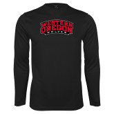 Performance Black Longsleeve Shirt-Word Mark Arched