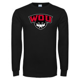 Black Long Sleeve T Shirt-WOU w/ Wolf