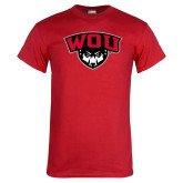 Red T Shirt-WOU w/ Wolf