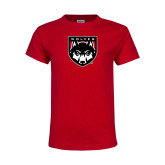 Youth Red T Shirt-Wolves Shield