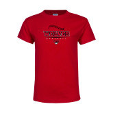 Youth Red T Shirt-Baseball Seams