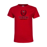 Youth Red T Shirt-Football Helmet