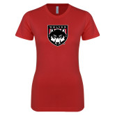 Next Level Ladies SoftStyle Junior Fitted Red Tee-Wolves Shield