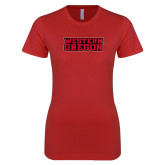 Next Level Ladies SoftStyle Junior Fitted Red Tee-Word Mark Flat