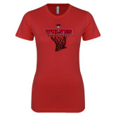 Next Level Ladies SoftStyle Junior Fitted Red Tee-Basketball Net