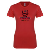 Next Level Ladies SoftStyle Junior Fitted Red Tee-Football Helmet