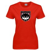 Ladies Red T Shirt-Wolves Shield