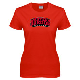 Ladies Red T Shirt-Word Mark Arched