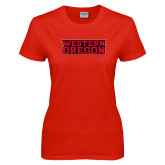 Ladies Red T Shirt-Word Mark Flat