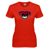 Ladies Red T Shirt-WOU w/ Wolf