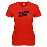Ladies Red T Shirt-Slash Design