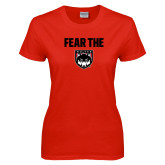 Ladies Red T Shirt-Fear The Wolves