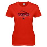 Ladies Red T Shirt-Baseball Seams