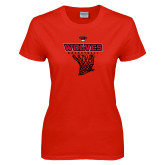 Ladies Red T Shirt-Basketball Net
