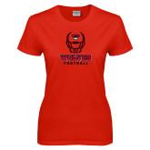 Ladies Red T Shirt-Football Helmet