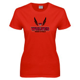 Ladies Red T Shirt-Track and Field Wings