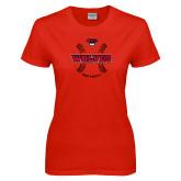 Ladies Red T Shirt-Softball Seams