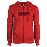 ENZA Ladies Red Fleece Full Zip Hoodie-Word Mark Flat