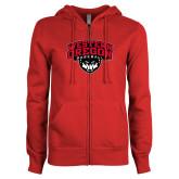 ENZA Ladies Red Fleece Full Zip Hoodie-Baseball