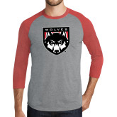Grey/Red Heather Tri Blend Baseball Raglan-Wolves Shield